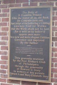 Benjamin Franklin Gravesite Christ Church Cemetery Philadelphia